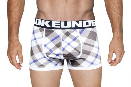 Bloke Undees Flanny Boxer Brief Underwear Grey/Blue BB-PLF-G
