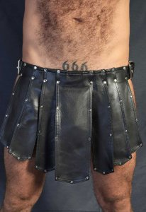 Kristen Bjorn Leather Kilt I Black