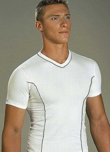 Lord Contrast Stripe V Neck Short Sleeved T Shirt White 481