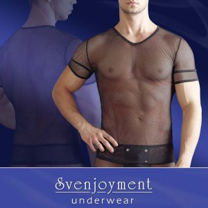Svenjoyment Hemmed Cuffs Fishnet V Neck Short Sleeved T Shirt Black 2160633