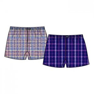Minerva [2 Pack] Short Popline Check Loose Boxer Shorts Underwear Blue & Sky Blue 23072