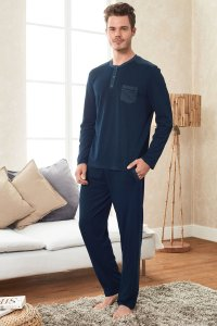 Doreanse Pocket Henley Long Sleeved T Shirt & Pants Set Loungewear Deep Turquoise 4248