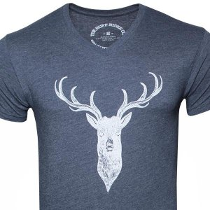 Ruff Riders Buck V Neck Short Sleeved T Shirt Midnight Navy