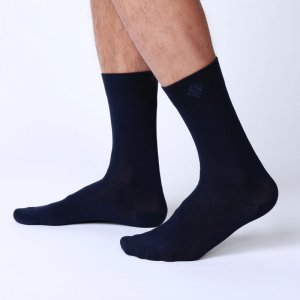 Bonne Cle Black & White Classic Socks Dark Blue