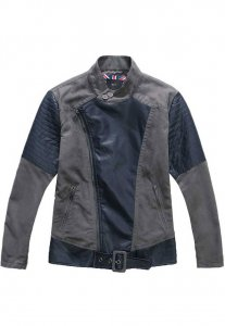Spy Henry Lau Leather Zip Up Biker Jacket Grey SP788AA58LWBHK