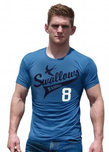 Ajaxx63 Swallows Athletic Fit Short Sleeved T Shirt Blue AS1...