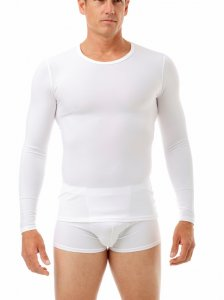 Underworks Shapewear Microfiber Light Compression Body Long Sleeved T Shirt White 497100