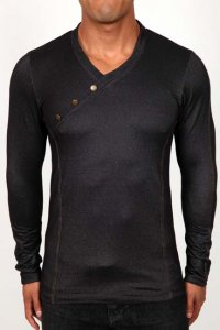 Pistol Pete Rider V Neck Long Sleeved T Shirt Black LS535-726