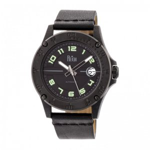Reign Emery Automatic Leather-Band Watch w/Date - Black REIRN5003