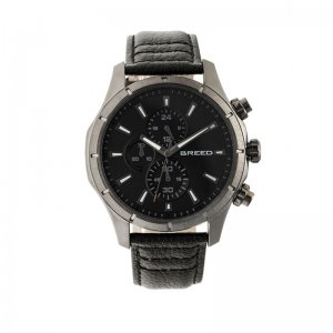 Breed Lacroix Chronograph Leather-Band Watch - Gunmetal/Blac...
