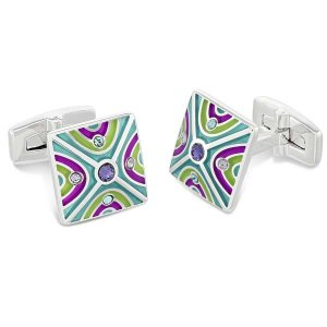 Duncan Walton Oxlow Cufflinks Purple/Teal C2812