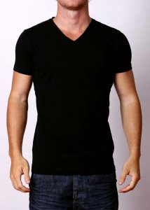 By The People Premium Basic V Neck Short Sleeved T Shirt Black