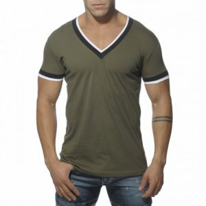 ES Collection Double Binding V Neck Short Sleeved T Shirt Khaki TS103