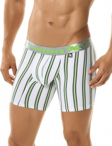 Xtremen Lime Stripe Microfiber Boxer Brief Underwear White 51344