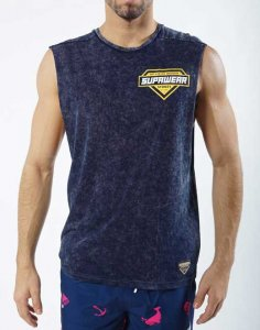 Supawear Racer Muscle Top T Shirt Navy
