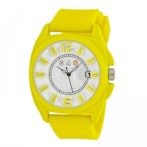Crayo Sunset Unisex Watch w/Magnified Date - Yellow CRACR3308