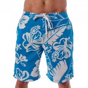 Lord Hibiscus Boardshorts Beachwear Light Blue/White MA009