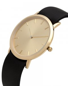 Analog Watch Classic Gold Plated Dial & Black Strap Watch GB...