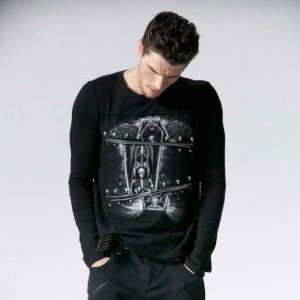 Punk Rave Gothic Skeleton Zipper Long Sleeved T Shirt Black ...