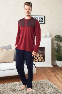 Doreanse Pocket Jeans Henley Long Sleeved T Shirt & Pants Set Loungewear Bordeaux 4258