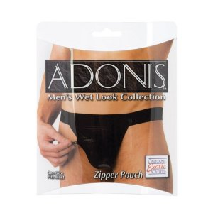 Adonis Wet Look Zipper Pouch Underwear Black SE4029-10
