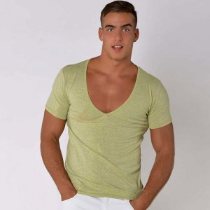 Roberto Lucca Slimt Fit Deep V Neck Short Sleeved T Shirt Green Melange 70223-21147