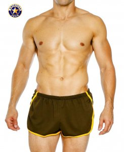 Go Softwear A J Aktivo Extreme Runner Shorts Olive/Yellow 8737