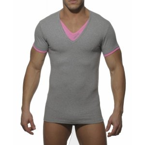 Addicted Double Effect V Neck Short Sleeved T Shirt Grey/Pink AD121