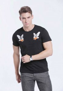 Spy Henry Lau Eagle Embroidery Short Sleeved T Shirt Black PH498MTE