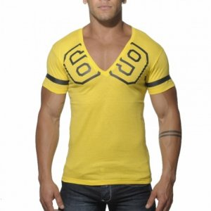 Addicted 69 V Neck Short Sleeved T Shirt Yellow AD199