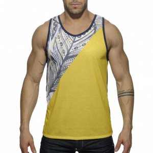 Addicted Feather Tank Top T Shirt Yellow AD378
