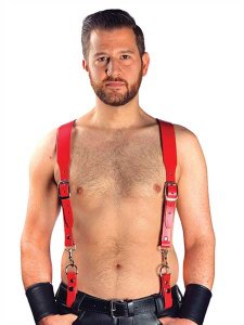 Mister B Leather Basic Combi Harness Braces Red 601113