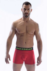 DMXGEAR Anatomic Fit Luxury Cotton Boxer Brief Underwear Red/Black