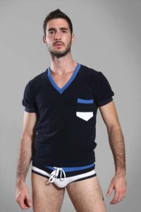 Buns Back Stripe Pocket Piping V Neck Short Sleeved T Shirt Marine/Cobalt Blue G-60-VN-4-COT-59