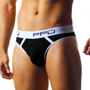 PPU Cheeky Back Cotton Lycra Brief Underwear Black 0972 USA1