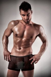 Passion Lingerie Sheer Boxer Brief Underwear Black 025