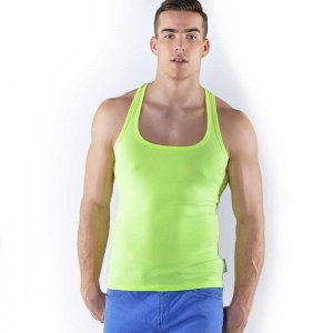 Roberto Lucca Square Neck Tank Top T Shirt Neon Yellow 80003-00171