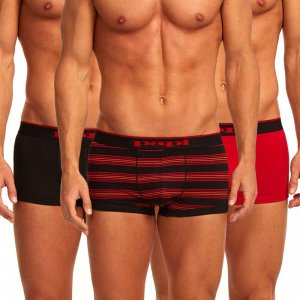 Papi [3 Pack] Cotton Stretch Brazilian Combo Trunk Underwear Red 980503