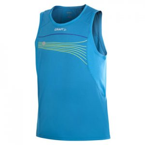 Craft Performance Run Muscle Top T Shirt Blue/Yellow 1900644