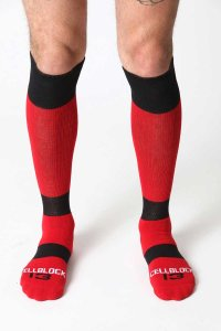 CellBlock 13 Roll Over Knee High Socks Red A040