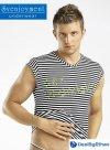 Svenjoyment Sex Scandal Stripe V Neck Muscle Top T Shirt Black/White 2160102