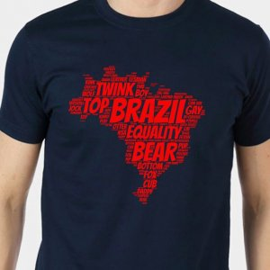 4 Labels Brazil Short Sleeved T Shirt Navy Blue/Red