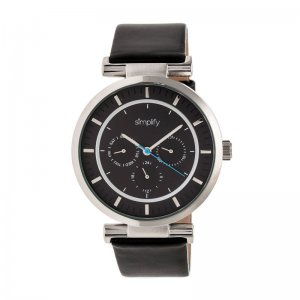 Simplify The 4800 Leather-Band Watch w/Day/Date - Silver/Black/Black SIM4804