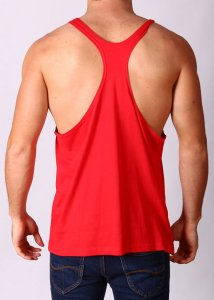 Gym Clothing Y Back Loose Weight Training Stringer Tank Top T Shirt Red