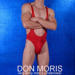 Don Moris Fantasy Low Cut Strap Brief Bodysuit Red DM080896