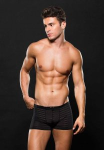 Envy Stripe Microfiber Boxer Brief Underwear Black E052