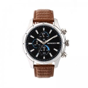 Breed Lacroix Chronograph Leather-Band Watch - Silver/Brown ...