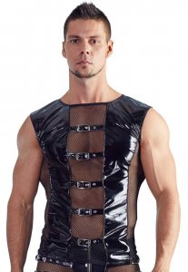 Black Level Net Panel Buckled Vinyl Muscle Top T Shirt Black 2890380