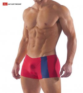 Go Softwear Priapos C Ring Square Cut Trunk Swimwear Red/Navy 4538