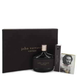 John Varvatos Vintage Eau De Toilette Spray 4.2 oz / 124.21 mL + Mini EDT Spray 0.57 oz / 16.85 mL + Vial (Sample) 0.05 oz / 1.4
